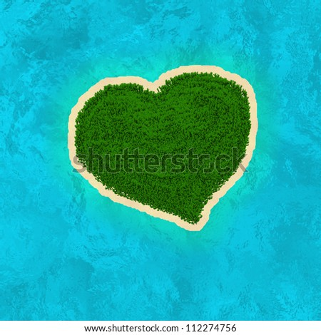 Paradise Island in the form of heart. - stock photo