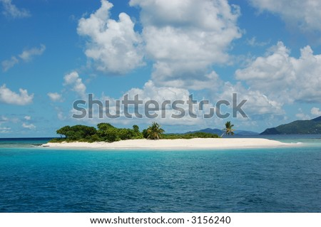 Paradise island with fine white sand beach