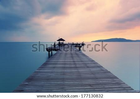 Paradise Landscape Sea while sunrise - stock photo