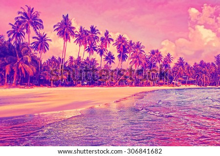 Paradise nature, sea and hotel house on the tropical beach at sunset - stock photo