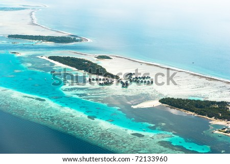 Paradise Palm Island Aerial View - stock photo