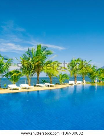 Paradise Pool Resort Relaxation - stock photo