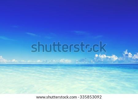Paradise Sea Ocean Sky Blue Tropical Summer Vacation Concept - stock photo