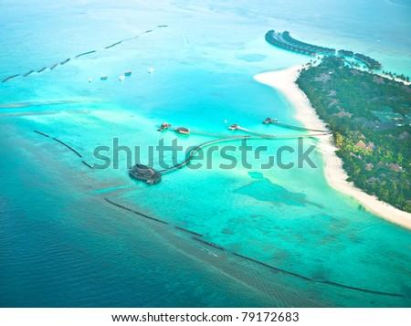 paradise tropic island. aerial view - stock photo
