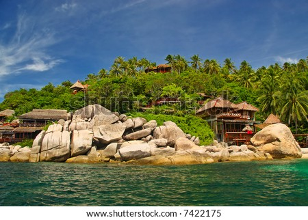 Paradise Vacation Destination View - stock photo