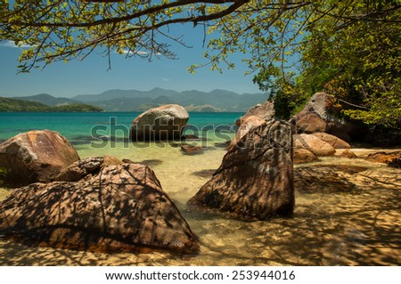 Paradisiac beach, Ilha Grande, Brazil - stock photo