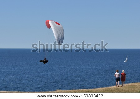 Paraglider in the south of Sweden - stock photo