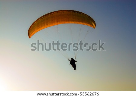 Paraglider  landing - stock photo