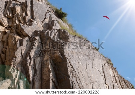 Paragliding flight in the mountains Caucasus Russia