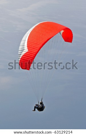 Paragliding over lake Ohrid - stock photo