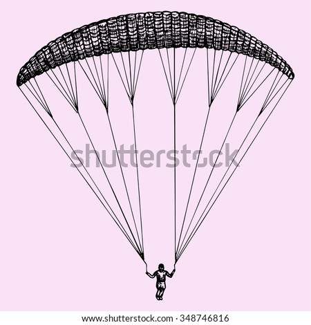 Paragliding, parachute, extreme sport, doodle style, sketch illustration, hand drawn, raster - stock photo