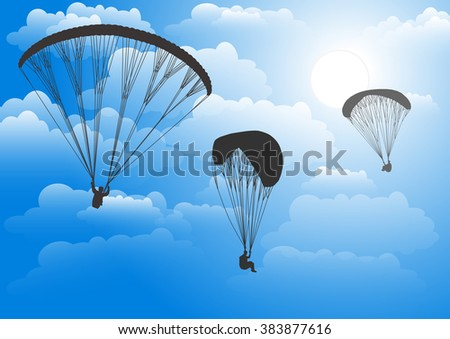 Paragliding.  Sky and clouds. Colorful illustration.