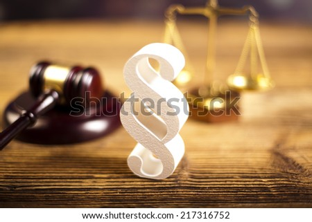 Paragraph, law and justice concept, wooden gavel  - stock photo