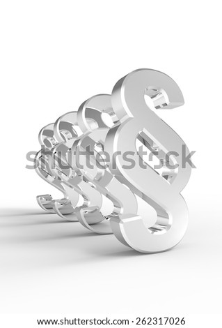 Paragraph sign symbol isolated over white. Computer generated 3D photo rendering. - stock photo