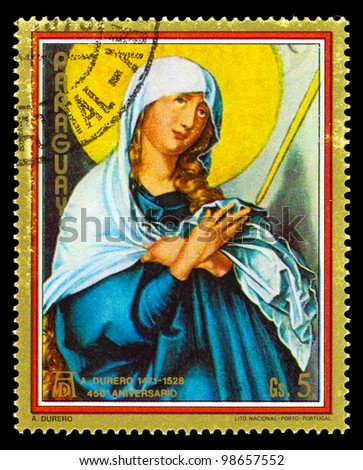 PARAGUAY- CIRCA 1979: A stamp printed in Paraguay shows Madonna paintings by A.Durero, circa 1979