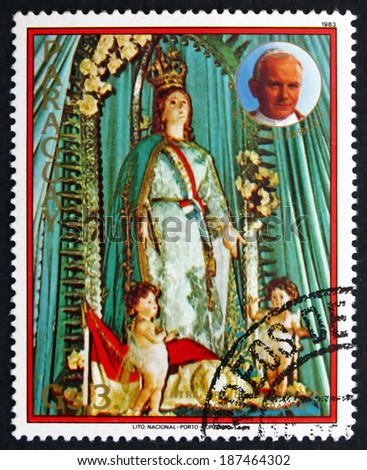 PARAGUAY - CIRCA 1983: a stamp printed in Paraguay shows Our Lady of the Assumption, Pope John Paul II, circa 1983 - stock photo