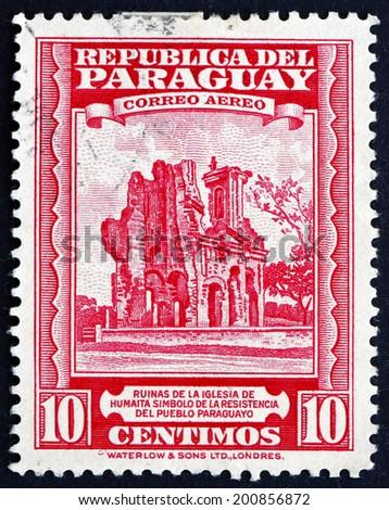 PARAGUAY - CIRCA 1946: a stamp printed in Paraguay shows Ruins of Humaita Church, circa 1946 - stock photo