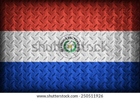 Paraguay flag pattern on the diamond metal plate texture ,vintage style - stock photo