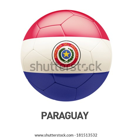 Paraguay Flag Soccer Icon isolated on white background
