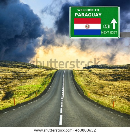 Paraguay road sign against clear blue sky