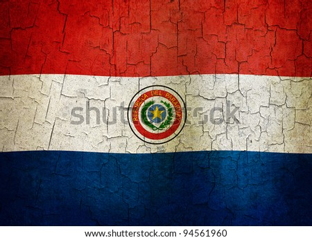 Paraguayan flag on a cracked grunge background - stock photo