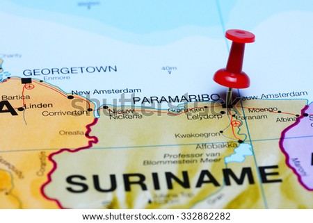Paramaribo pinned on a map of America