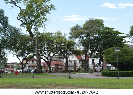 Paramaribo Suriname - July 13 2016 - Historical area at Paramaribo, capital of Suriname