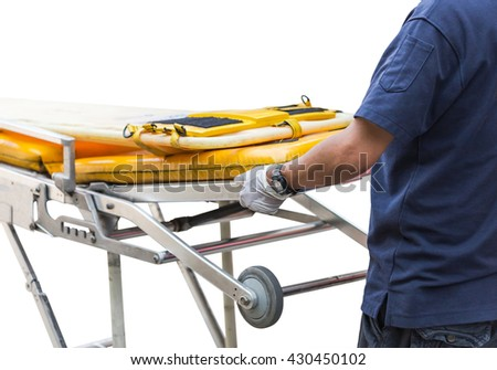 paramedic and rescue stretcher to transport patient on white background - stock photo