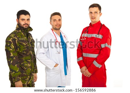 Paramedic ,doctor and military man in a row isolated on white background - stock photo