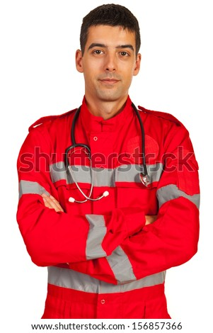 Paramedic in uniform standing with arms folded isolated on white background - stock photo