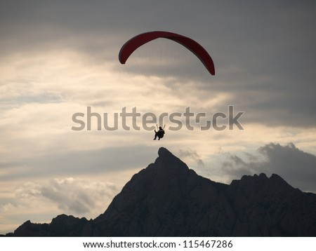 Paraplane in the evening sky, Crimea