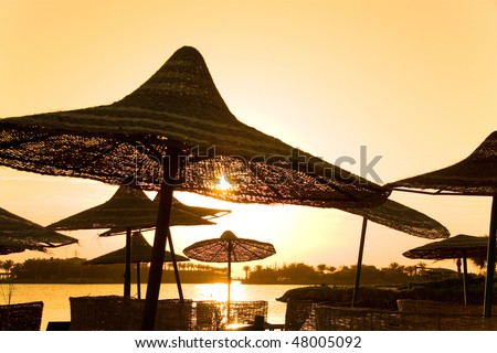 parasols and sunrise