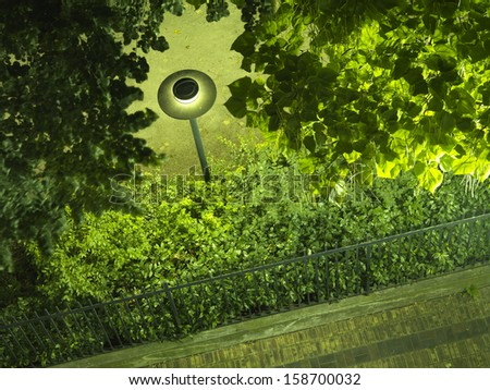 parc lamp at night from above - stock photo