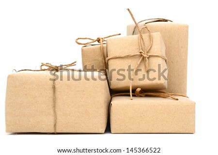 Parcel boxes wrapping, isolated on white background - stock photo