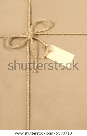 Parcel, brown paper package background, label, vertical
