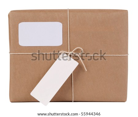 Parcel with blank space for address and blank note - stock photo