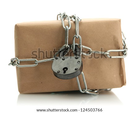 parcel with chain and padlock, isolated on white - stock photo