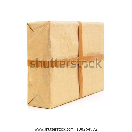parcel wrapped box isolated on white background