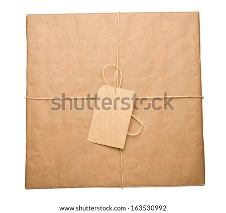 Parcel wrapped in brown paper and tied with rough twine