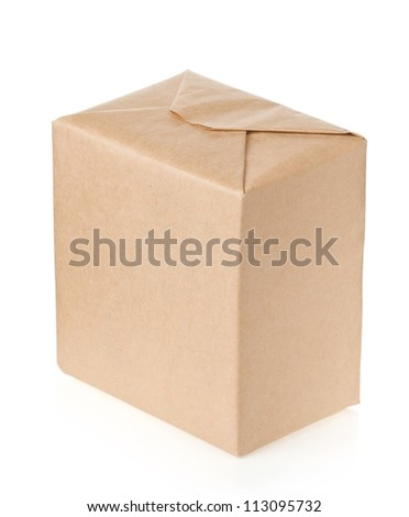 parcel wrapped with brown paper isolated on white background