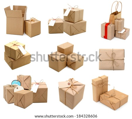 Parcel wrapped with brown paper tied with rope collection - stock photo