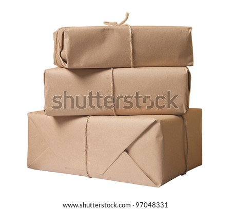 parcel wrapped with brown paper tied with rope isolated on white background - stock photo