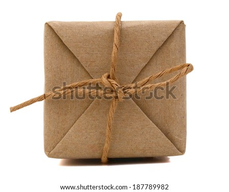 parcels box wrapped with kraft paper, isolated on white  - stock photo