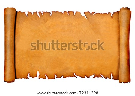 Parchment empty, isolated on a white background - stock photo
