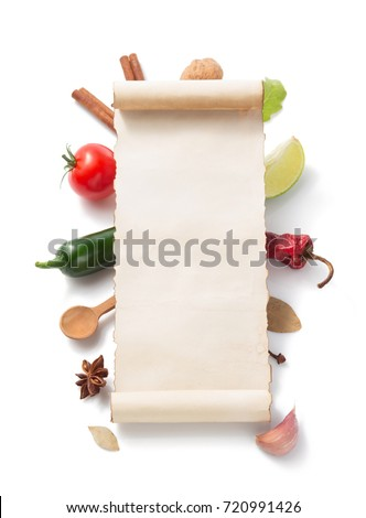 parchment scroll and food  ingredient isolated on white background