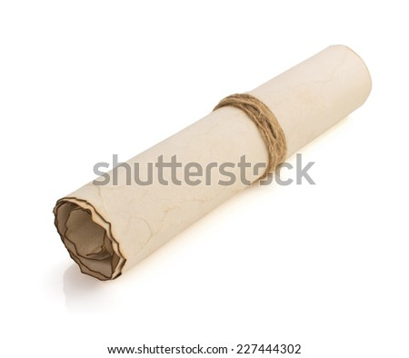 parchment scroll isolated on white background - stock photo