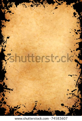 parchment sheet with grunge black ink frame - stock photo
