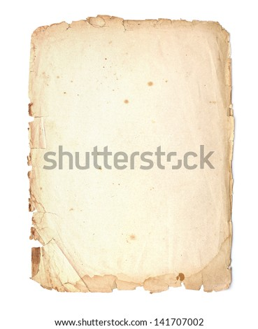 Parchment with ragged edges. Detailed old page paper. - stock photo