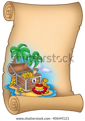 Parchment with treasure on island - color illustration. - stock photo