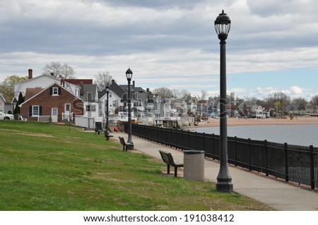 Pardee Seawall Park in New Haven, Connecticut - stock photo